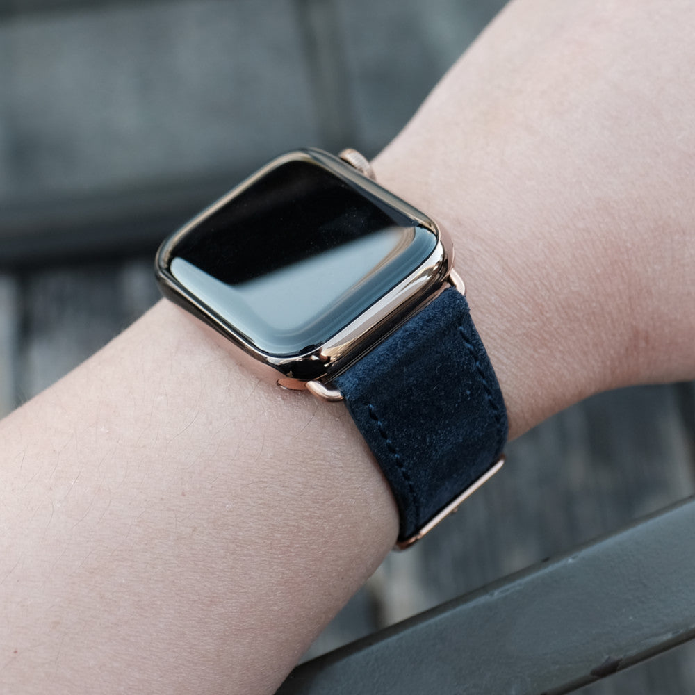 Pin and Buckle Apple Watch Bands - Velour - Suede Leather Apple Watch Band - Azure Blue on Gold with Gold Buckle 2