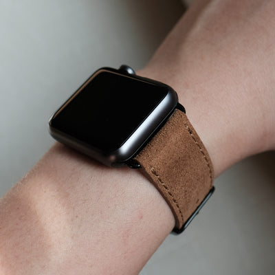 Pin and Buckle Apple Watch Bands - Velour - Suede Leather Apple Watch Band - Cognac - on Black
