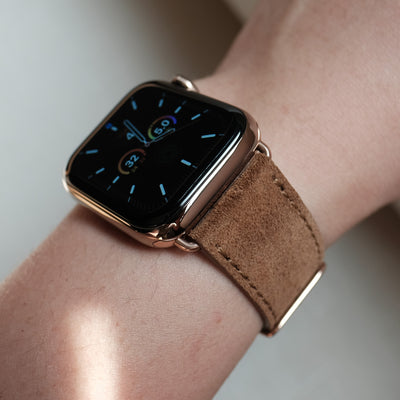 Pin and Buckle Apple Watch Bands - Velour - Suede Leather Apple Watch Band - Cognac - on Gold