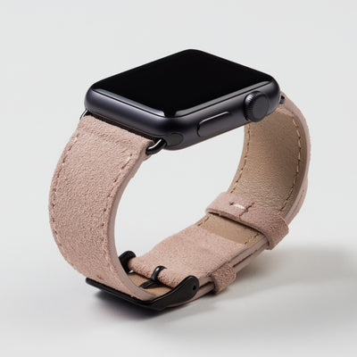Pin and Buckle Apple Watch Bands - Velour - Suede Leather Apple Watch Band - Peach - Black