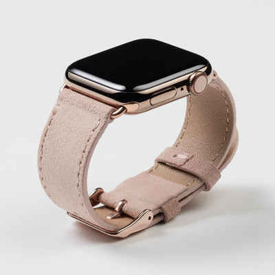 Pin and Buckle Apple Watch Bands - Velour - Suede Leather Apple Watch Band - Peach - Gold