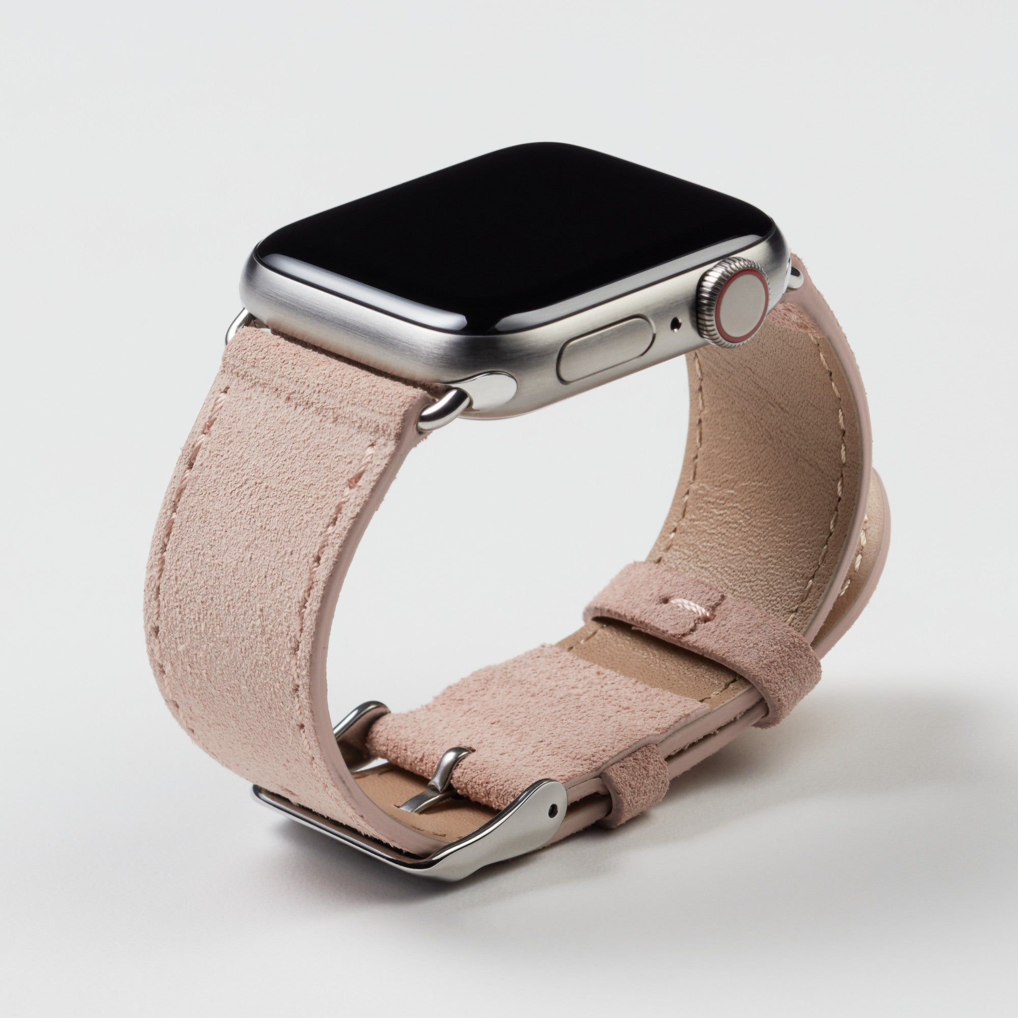 Pin and Buckle Apple Watch Bands - Velour - Suede Leather Apple Watch Band - Peach - Silver