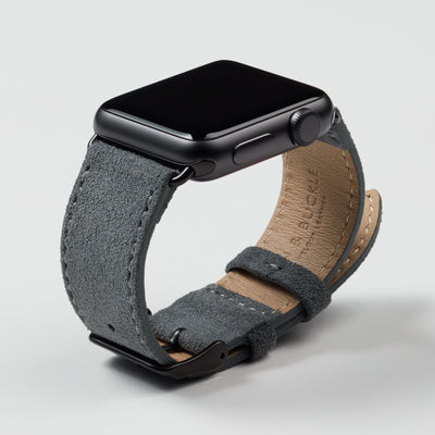 Pin and Buckle Apple Watch Bands - Velour - Suede Leather Apple Watch Band - Pebble Grey - Black