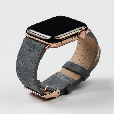 Pin and Buckle Apple Watch Bands - Velour - Suede Leather Apple Watch Band - Pebble Grey - Gold