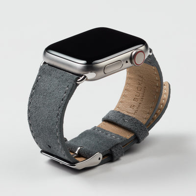 Pin and Buckle Apple Watch Bands - Velour - Suede Leather Apple Watch Band - Pebble Grey - Silver