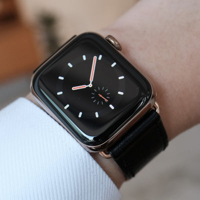 Pin and Buckle Apple Watch Leather Bands - Full Grain Vegetable Tanned Leather - Luxe - Nero Black - Gold - Series 4