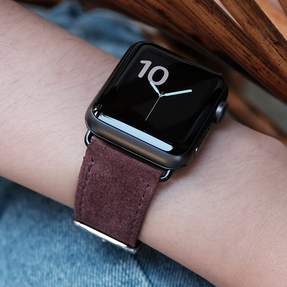 Pin and Buckle Apple Watch Straps - Velour - Suede Leather Apple Watch Strap - Merlot Red