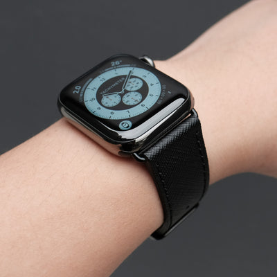 Pin and Buckle Apple Watch Bands - Saffiano - Textured Leather Apple Watch Bands - Black on Graphite