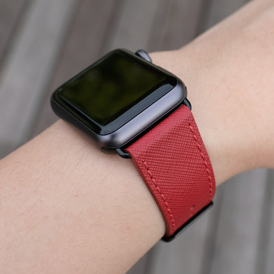 Pin and Buckle Apple Watch Bands - Saffiano - Textured Leather Apple Watch Bands - Crimson Red - Black