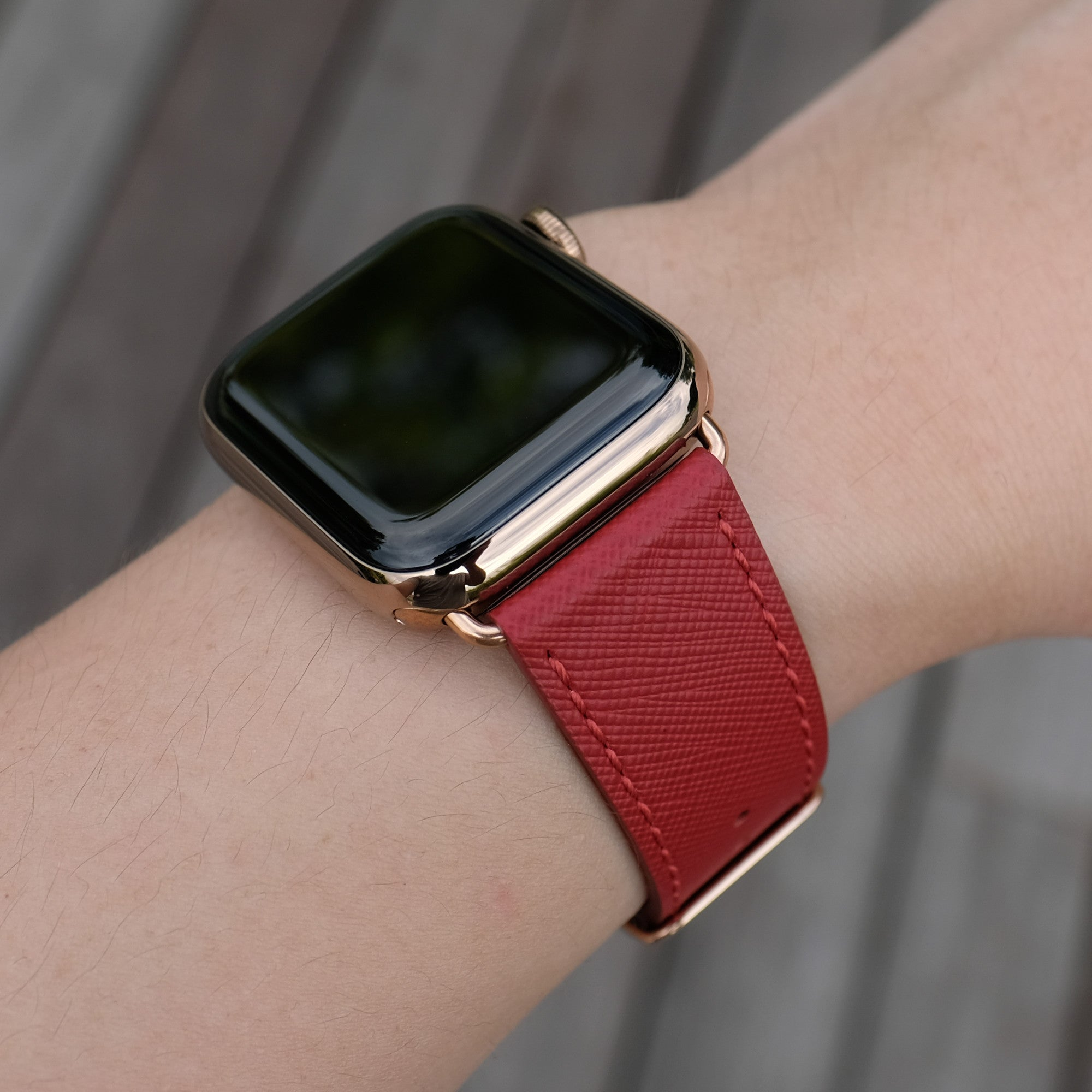 Pin and Buckle Apple Watch Bands - Saffiano - Textured Leather Apple Watch Bands - Crimson Red - Gold