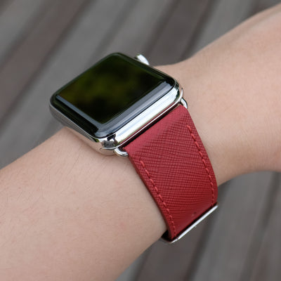 Pin and Buckle Apple Watch Bands - Saffiano - Textured Leather Apple Watch Bands - Crimson Red - Silver