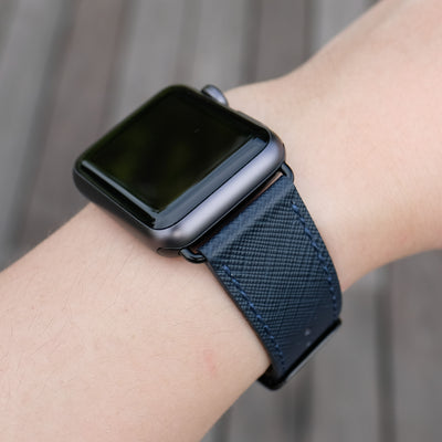 Pin and Buckle Apple Watch Bands - Saffiano - Textured Leather Apple Watch Bands - Navy Blue - Black