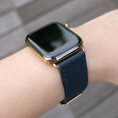 Pin and Buckle Apple Watch Bands - Saffiano - Textured Leather Apple Watch Bands - Navy Blue - Gold