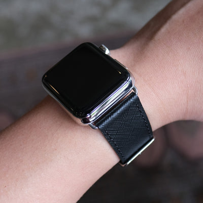 Pin and Buckle Apple Watch Bands - Saffiano - Textured Leather Apple Watch Bands - Silver