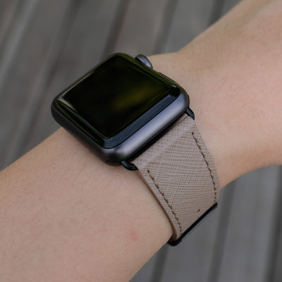 Pin and Buckle Apple Watch Bands - Saffiano - Textured Leather Apple Watch Bands - Taupe - Black