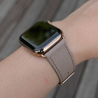 Pin and Buckle Apple Watch Bands - Saffiano - Textured Leather Apple Watch Bands - Taupe - Gold