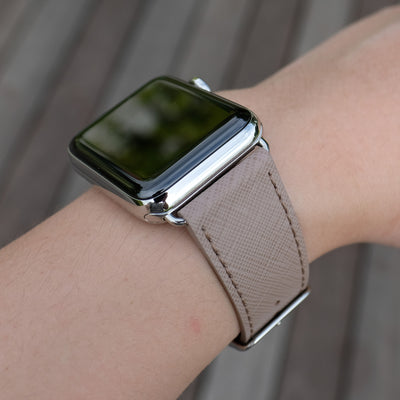 Pin and Buckle Apple Watch Bands - Saffiano - Textured Leather Apple Watch Bands - Taupe - Silver