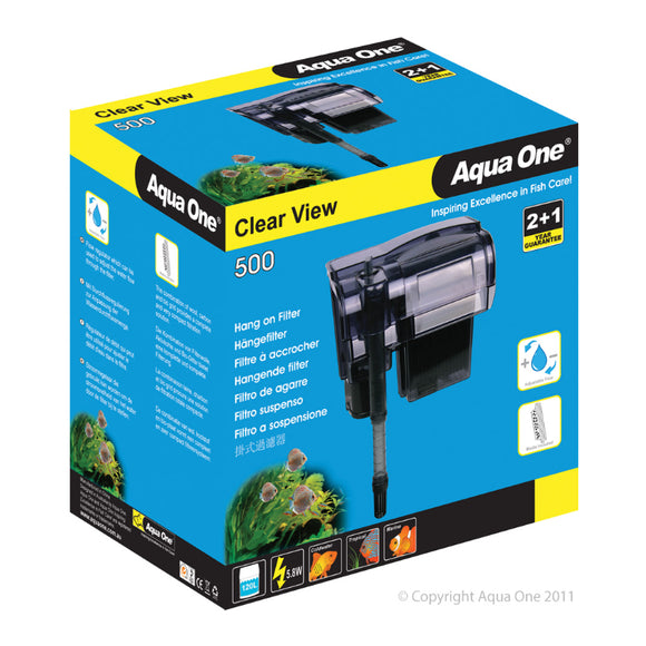 Aqua One 500 ClearView Hang On Filter 500 L/Hr