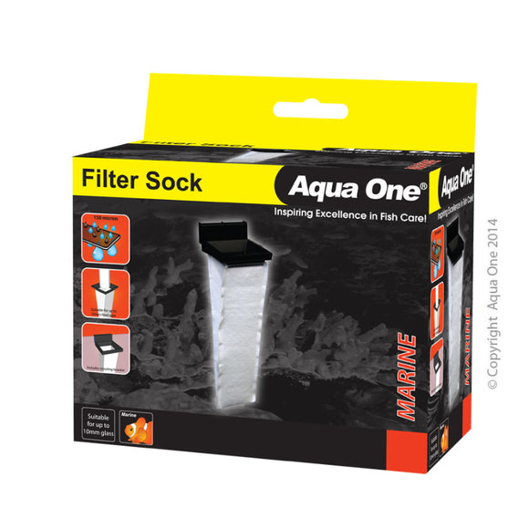 Aqua One Filter Sock 10 W X 10 D X 37cm H Suit Up To 10mm Glass For Sump Systems