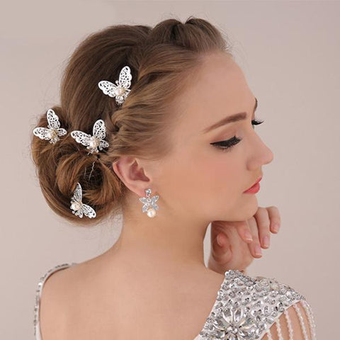 6PCS/Lot Rhinestone Handmade Butterfly Wedding Hair Pins