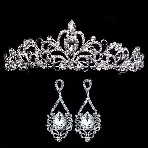 Young Love Tiara and Earrings Crowns Wedding Jewelry Set