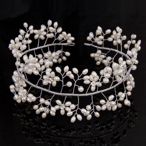 Elsa Pearl Beads Shiny Crystal Tiara Crown