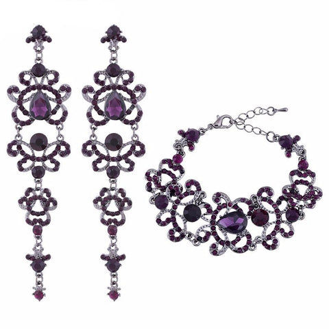 WOW Purple Crystal Bridal Jewelry Set