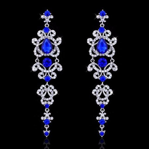 Claire Chandelier Crystal Long Earrings