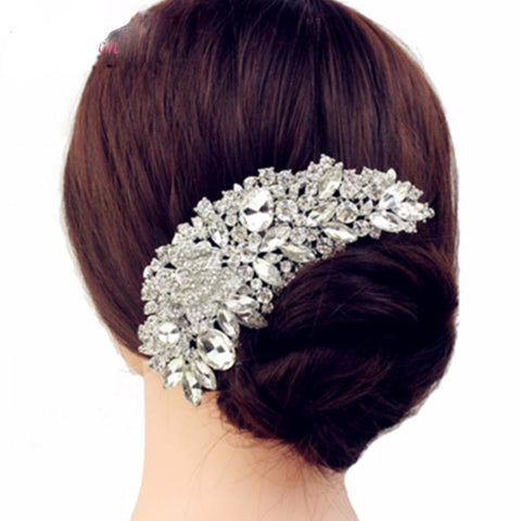 Luca Luxury Bridal Wedding Flower Crystal Rhinestone Hair Comb