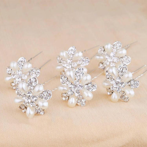 Anna 6 pcs/lot Pearl Flower Hairpins
