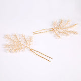 Jessie Leaf Flower Crystal Wedding Hairpins