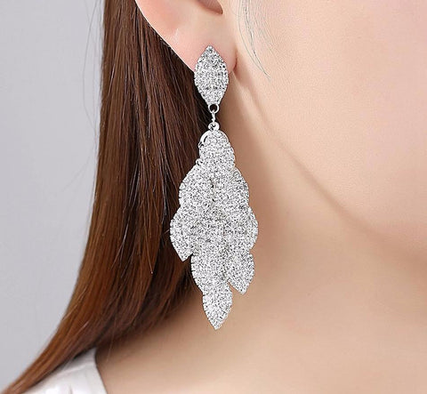 Wasp Crystal Wedding Long Earrings for Brides