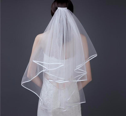 Chic Tulle Wedding Veil Two Layer Ribbon Edge with Comb