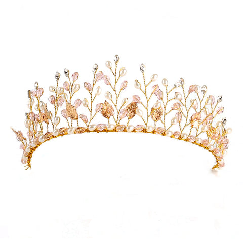Floristic Crystal Pearl Wedding Tiara Crown
