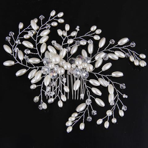 Welsh Pearl Crystal Bridal Hair comb