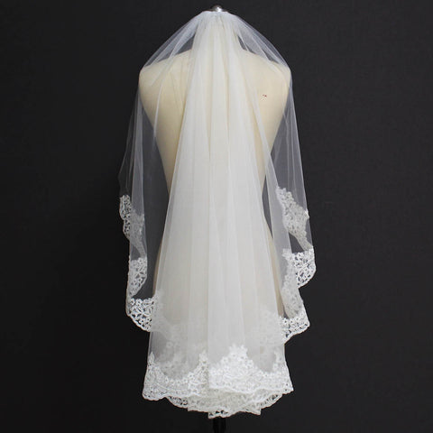 Viva Voile Partial Lace Edge One Layer Wedding Veil With Comb