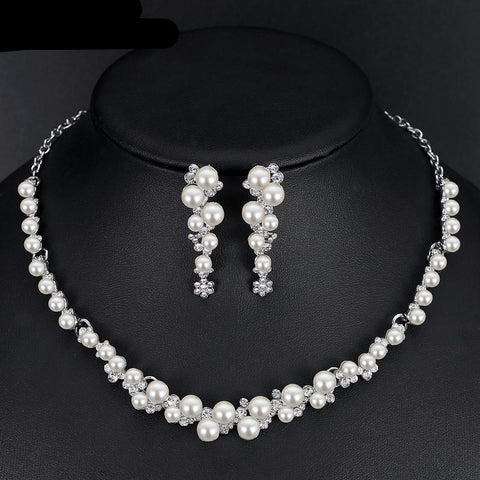 Hive Simulated Pearl Bridal Wedding Jewelry Set