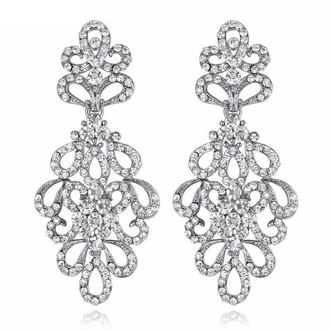 Splinter Luxury Crystal Bridal Long Earrings