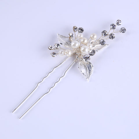 Desi Bridal Hair Jewelry Silver Plated Hairpins