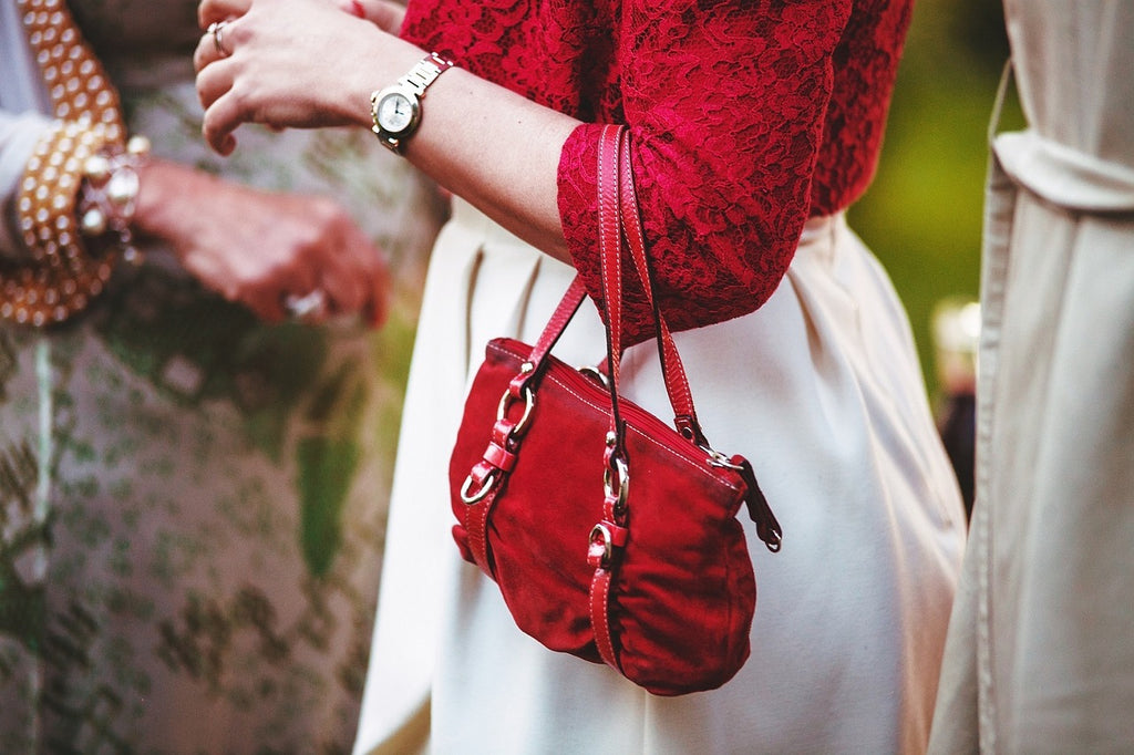 women red handbag
