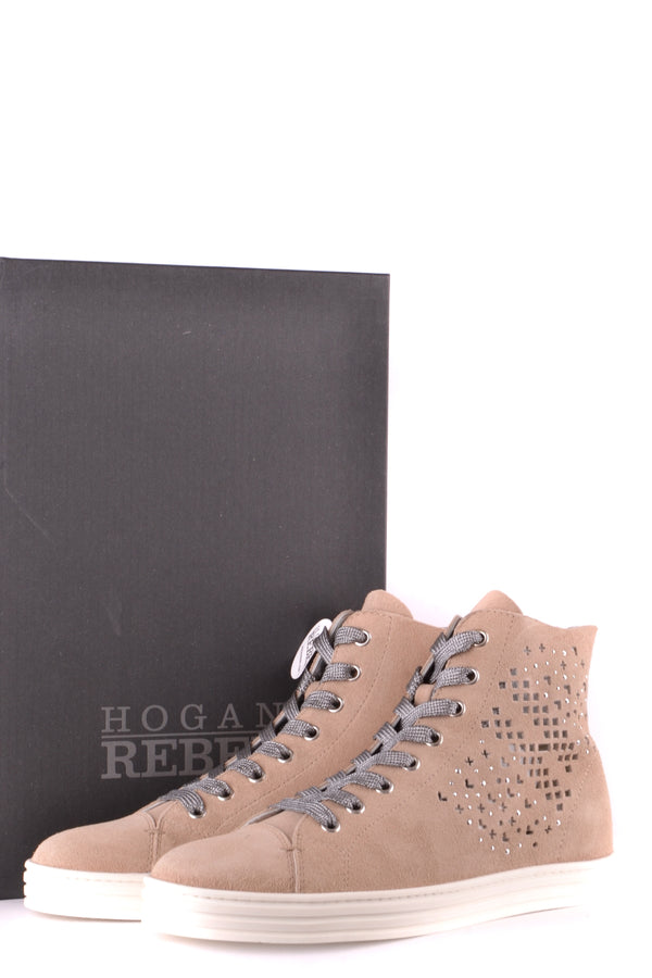 Antique Pink Suede Shoes Hogan for Women-Sports & Entertainment - Sneakers-Mudawwana UK