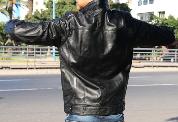 Artak- Leather Genuine Jacket for Men-Men's Fashion - Men's Clothing - Jackets & Coats - Jackets-Mudawwana UK
