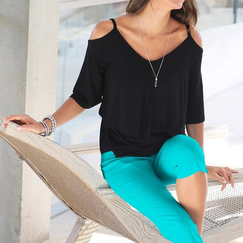 Casual Open- Shoulder Blouse