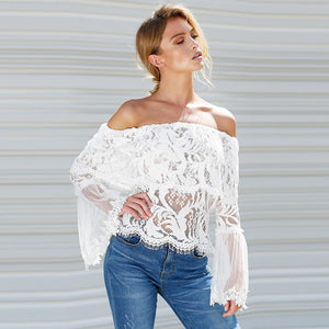 Sheer Lace Off the Shoulder Top