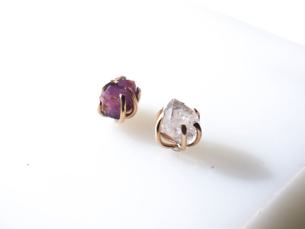 Ruby and Quartz Deception Studs