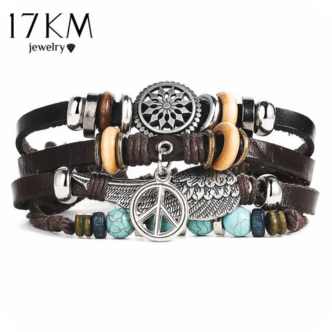 Turkish Eye Bracelets Unixsex Fashion Wristband Owl Leather Bracelet Stone Vintage - Jonjarash Shop