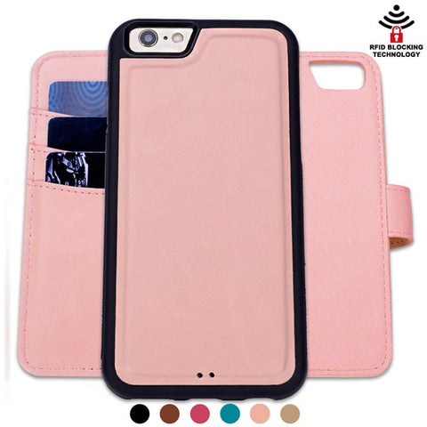 Iphone Leather Case RFID Magnetic Detachable Flip Wallet - Jonjarash Shop