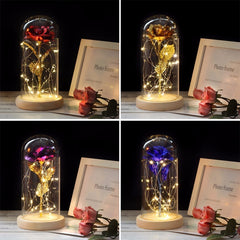 Gold-plated Rose With LED Light In Glass Dome