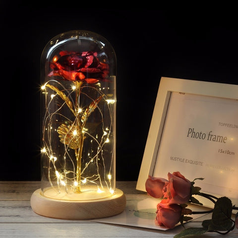 Gold-plated Rose With LED Light In Glass Dome - Jonjarash Shop