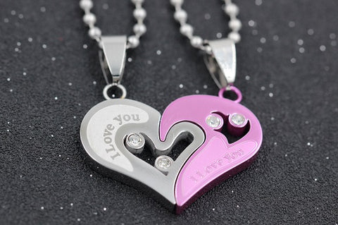 S-Steel Chain Black Heart Love Necklaces for Couples - Jonjarash Shop